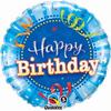 Happy Birthday Shining Star Bright Blue 18 Inch Foil Balloon