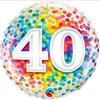 40th Birthday Rainbow Confetti 18 Inch Foil Balloon