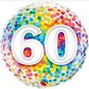 60th Birthday Rainbow Confetti 18 Inch Foil Balloon