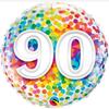 90th Birthday Rainbow Confetti 18 Inch Foil Balloon