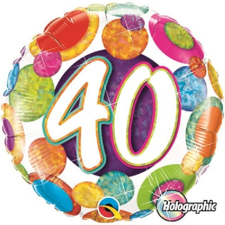 40th Birthday Holographic Big Dots & Gltiz 18 Inch Foil Balloon