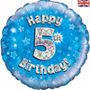 5th Birthday Holographic Blue 18 Inch Foil Balloon