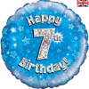 07th Birthday Holographic Blue 18 Inch Foil Balloon