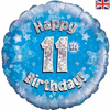 11th Birthday Holographic Blue 18 Inch Foil Balloon