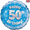 50th Birthday Holographic Blue 18 Inch Foil Balloon
