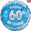 60th Birthday Holographic Blue 18 Inch Foil Balloon
