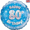 80th Birthday Holographic Blue 18 Inch Foil Balloon