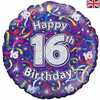 16th Birthday Holographic Streamers 18 Inch Foil Balloon