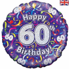 60th Birthday Holographic Streamers 18 Inch Foil Balloon