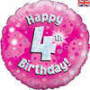 4th Birthday Holographic Pink 18 Inch Foil Balloon
