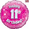 11th Birthday Holographic Pink 18 Inch Foil Balloon
