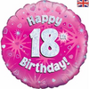 18th Birthday Holographic Pink 18 Inch Foil Balloon