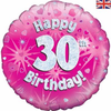 30th Birthday Holographic Pink 18 Inch Foil Balloon