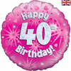 40th Birthday Holographic Pink 18 Inch Foil Balloon