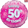 50th Birthday Holographic Pink 18 Inch Foil Balloon