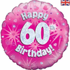 60th Birthday Holographic Pink 18 Inch Foil Balloon