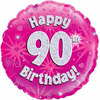 90th Birthday Holographic Pink 18 Inch Foil Balloon