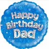 Happy Birthday Dad Holographic Blue 18 Inch Foil Balloon