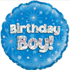 Happy Birthday Boy Holographic Blue 18 Inch Foil Balloon