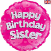Happy Birthday Sister Holographic Pink 18 Inch Foil Balloon