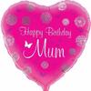 Happy Birthday Mum Pink Heart 18 Inch Foil Balloon