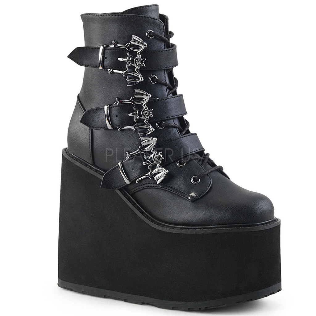Bat Buckle Wedge Boots