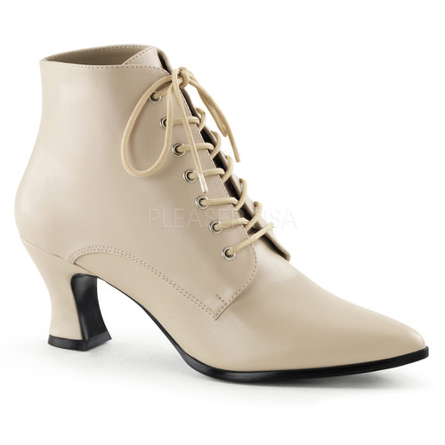 Cream Victorian Ankle Boots
