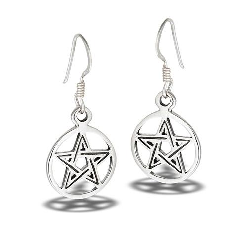 Sterling Pentagram Earrings