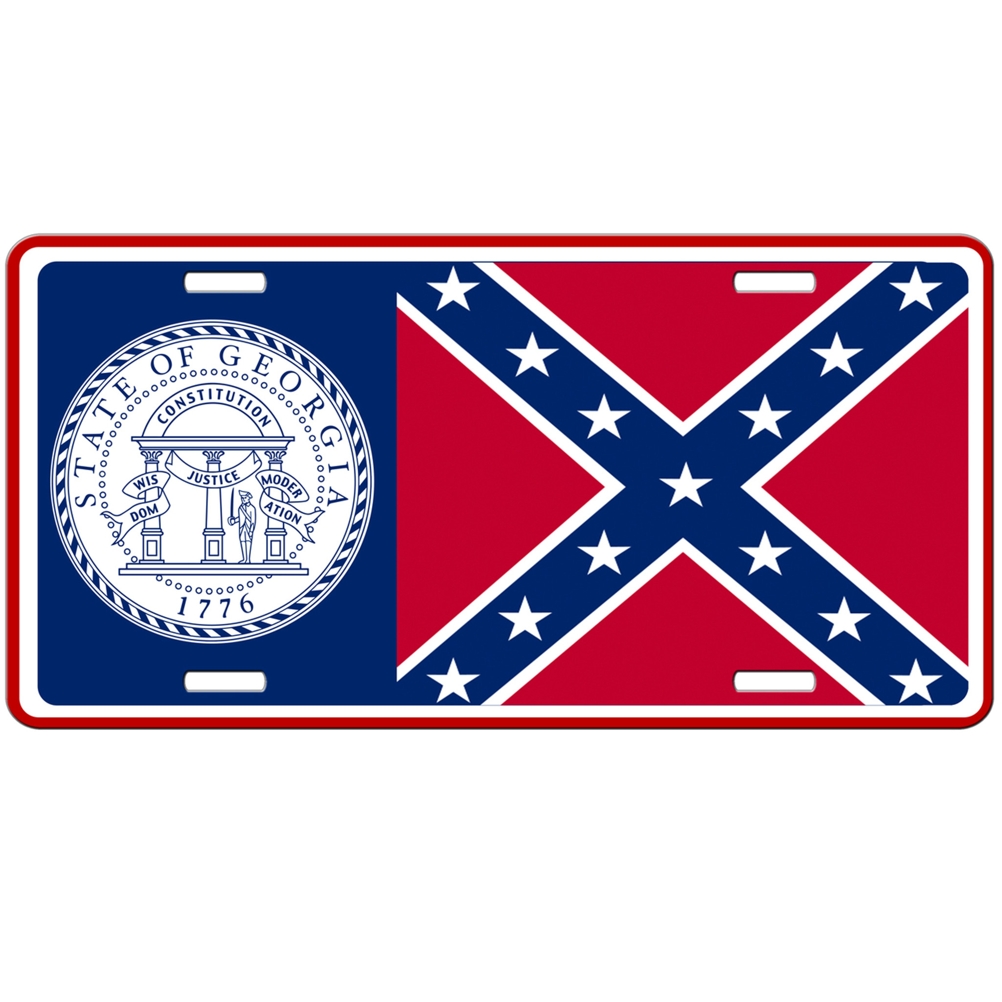 Customized License Plates >> Georgia State Flag Confederate Car Tag - License Plate Rebel Flag - SimplyCustomized