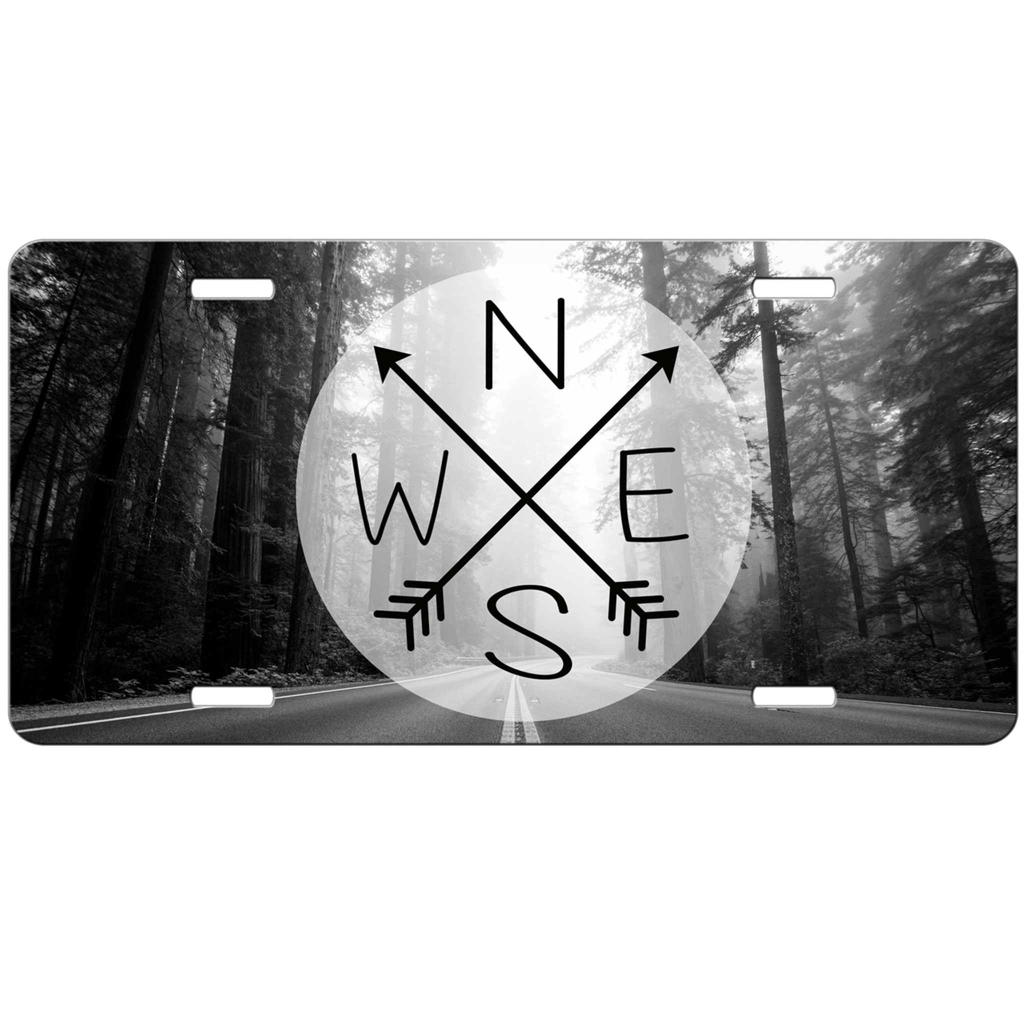 wander compass arrows open road travel wanderlust trees license plate