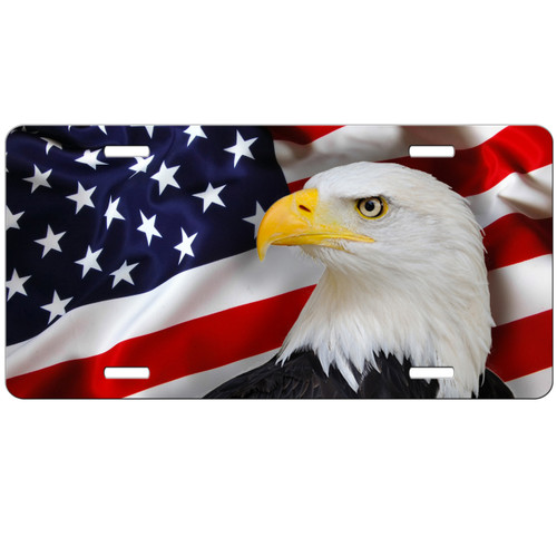 Eagle American Flag License Plate Patriotic Usa Car Tag