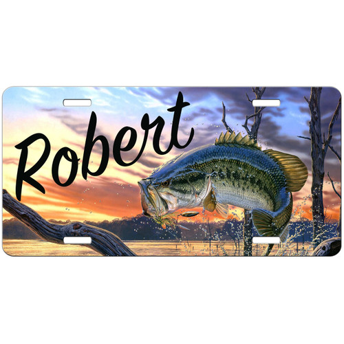 Bass license plate fishing gifts for men fisherman gift for Bass pro shop fishing license