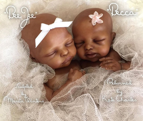 Becca & BeeJee - Set of 2 Mini Twin Vinyl Doll Kits By Marita Winters