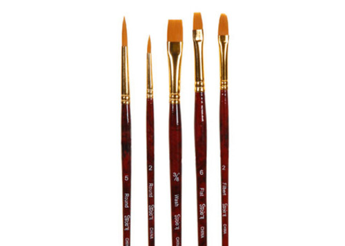 Gold Taklon Brush Set - 5 Pieces