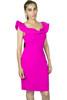 Embellished Off The Shoulder Fuchsia Dress