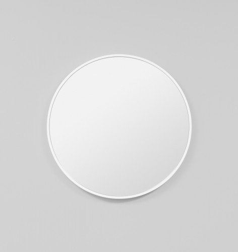 Modern Round Bella Gloss White Mirror | Print Decor