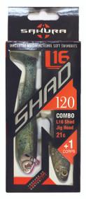 SAKURA COMBO L16 SHAD 120 - 120MM - 4.75'' + L16 SHAD Jighead - 21G - S06 (Sexy Shad)