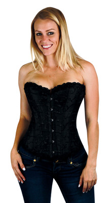 Corset - Black Embroidered Steel Boning