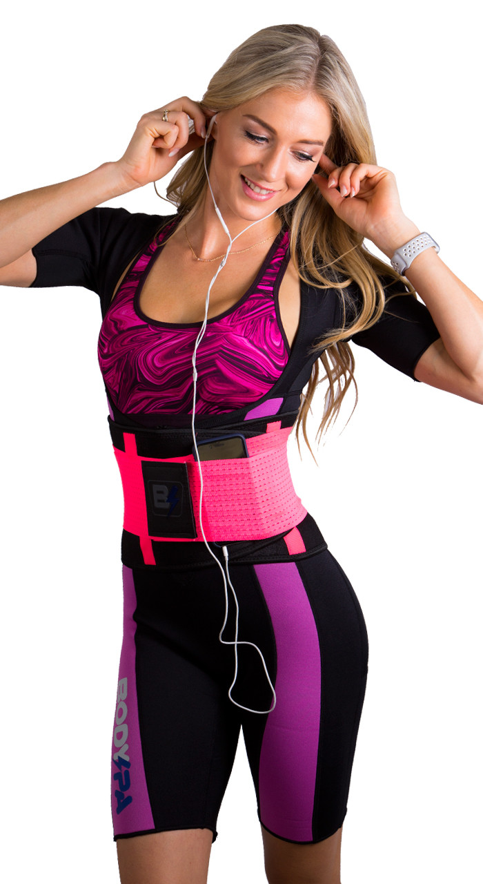 PERFECT TO USE IT WITH ANY OF OUR BODY SPA SAUNA SUITS. ADDS BACK SUPPORT AND SERVES AS A POCKET FOR YOUR CELL PHONE!