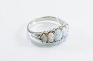 Vintage-Style Ring With Oval-Shaped Lab Created Opals