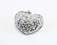 Heart-Shaped Cubic Zirconia with Rhodium-Plating