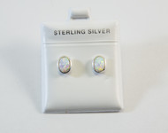 Large Oval-Shaped Lab Created Opal Earrings
