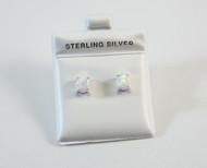 Pronged Oval-Shaped Lab Created Opal Stud Earrings