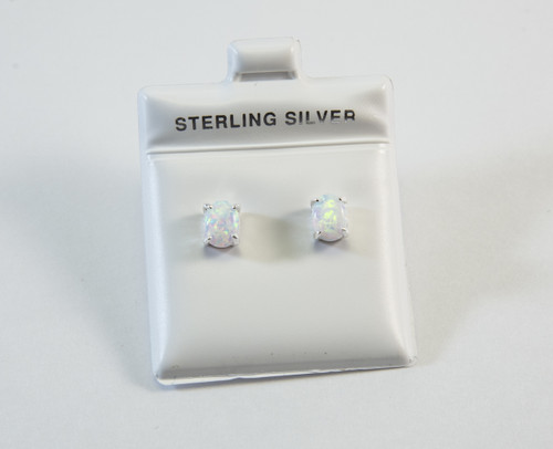 Pronged Oval-Shaped Lab Created Opal Stud Earrings