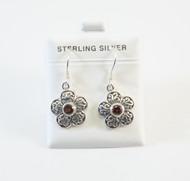 Dangling Flower Style Earring with Genuine Garnet Gemstones