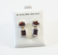 Handmade Balinese Earrings with Oval-Shaped and Rectangular-Shaped Genuine Garnets