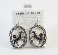 Balinese Garnet Earrings with Horse Design