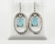 Dangling Chalcedony and Micro Pave CZ Earrings