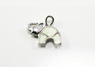 White Lab Created Opal Elephant