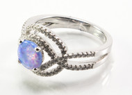 Light Blue Lab Opal Weaving Ring